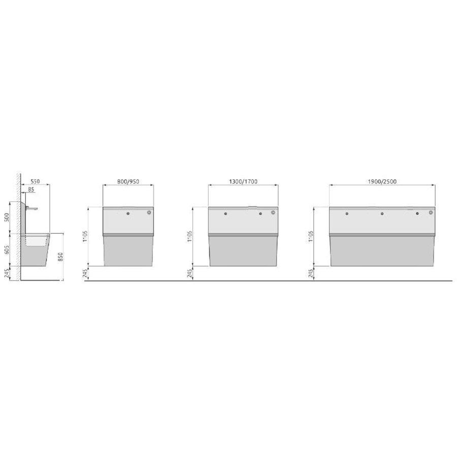 Edelstahlwaschwanne mit Infrarothahn (3 Größen)