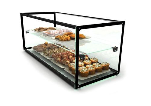 Sayl Neutrale Vitrine mit 1 Regal Erhältlich in 8 Größen | LED-Beleuchtung | Gehärtetes Glas
