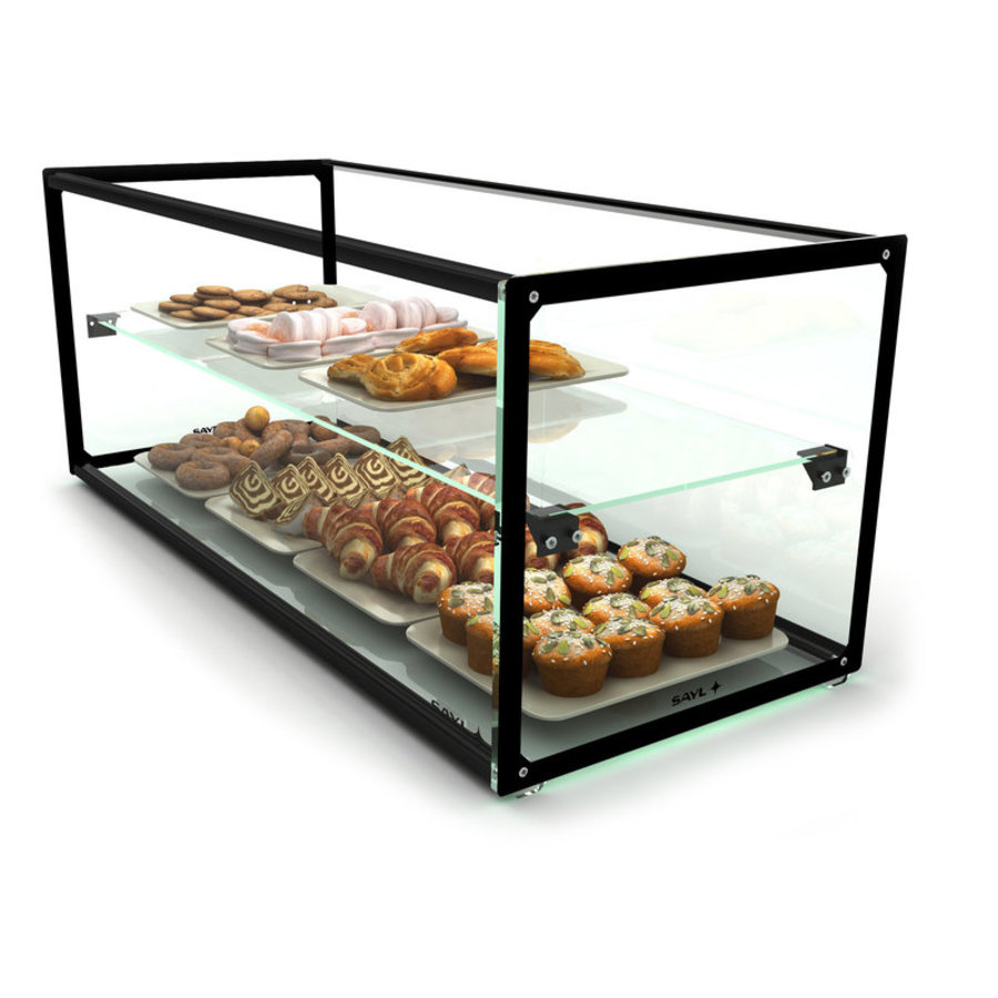 Neutral display case with 1 shelf Available in 8 sizes | LED lighting | Hardened glass