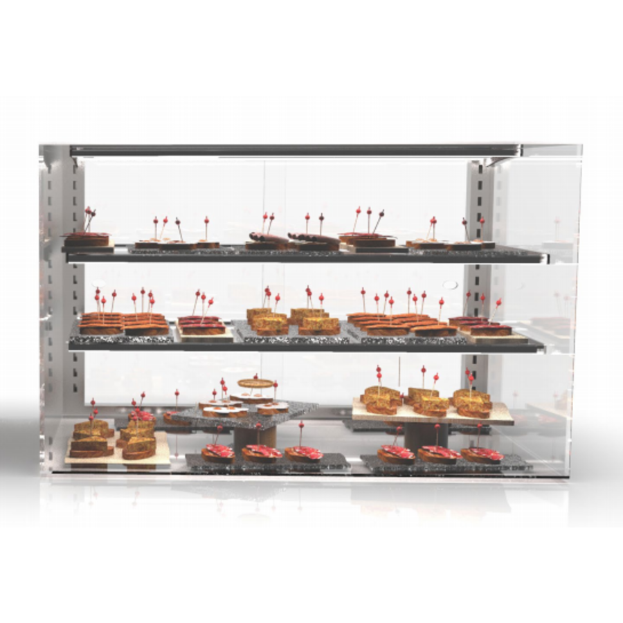 Neutral display case rectangular | Available in 4 sizes | Tempered glass | LED-lighting