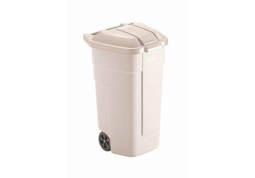 Rubbermaid Beige Rollbehälter mit Deckel | 100 Liter