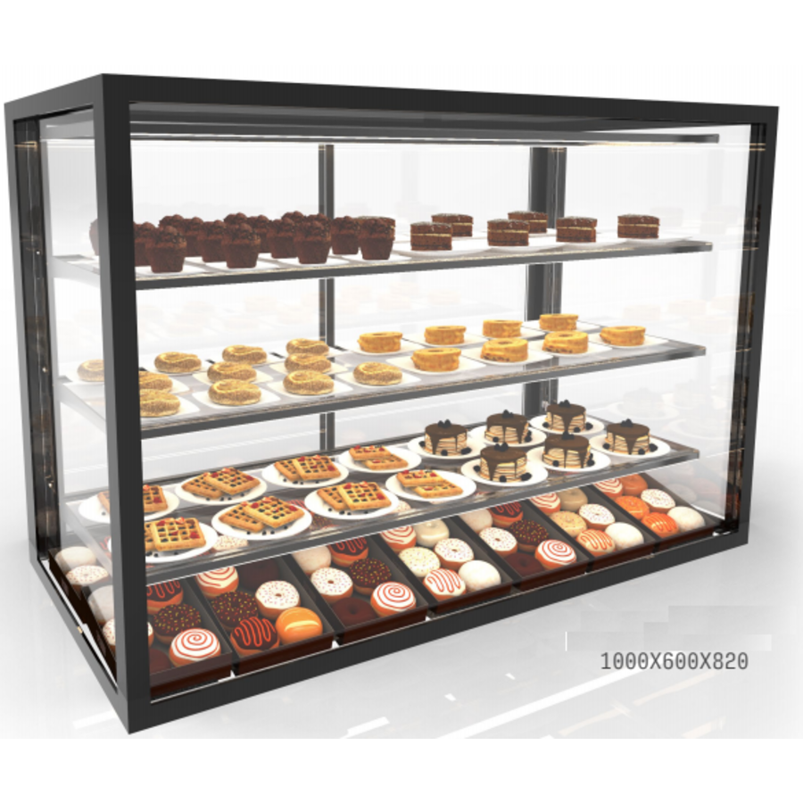 Neutral display case with 3 shelves | Available in 7 sizes | Tempered glass | LED-lighting