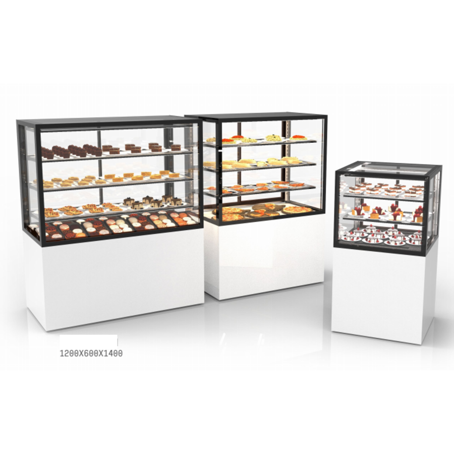 Neutral display case with 3 shelves   Available in 7 sizes   Tempered glass   LED-lighting