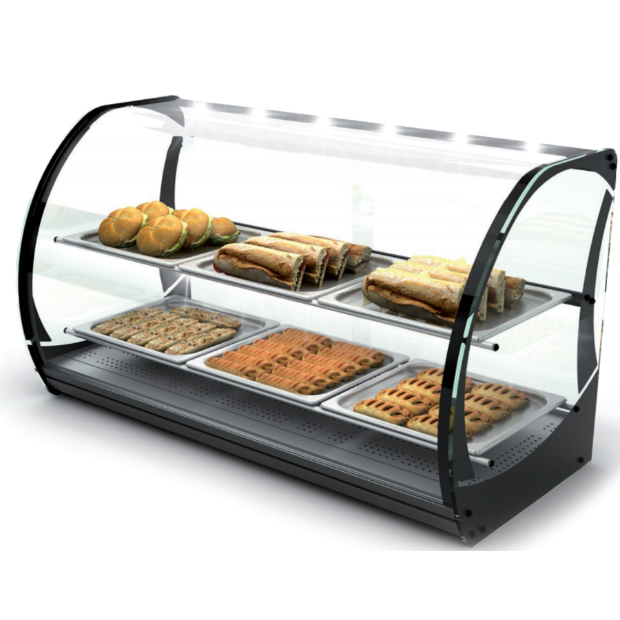 Neutral display case with 1 shelf Tempered glass | LED-lighting