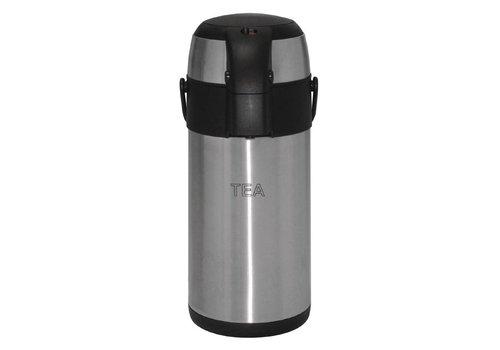 HorecaTraders Tea Pump jug   Stainless steel   3L
