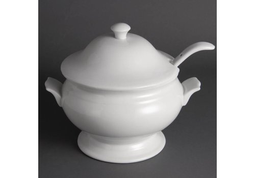 Olympia White Porcelain soup pot 2.5 liter