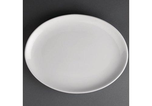 Athena Porzellan ovale flache Platte | 25 cm (12 Stück)