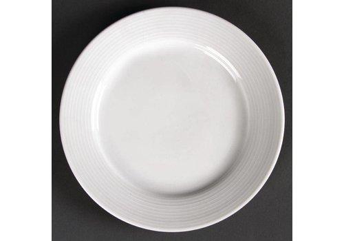 Olympia Wit plat bord porselein met brede rand 20 cm (stuks 12)