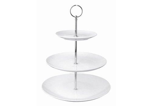 Olympia Etagère Porselein Rond zilver | 3 Etages
