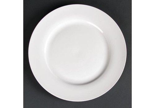 HorecaTraders Large white serving plate wide brim 27 cm (4 pieces)