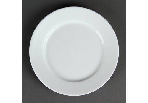 HorecaTraders Restaurant weißen Teller mit breitem Rand 20 cm (12 Stück)