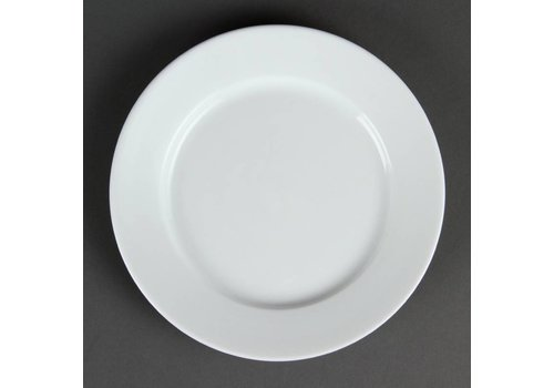 HorecaTraders Restaurant white plate with wide edge 20 cm (12 pieces)
