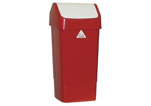 HorecaTraders Abfalleimer aus Kunststoff mit Klappdeckel 50 Liter | Rot