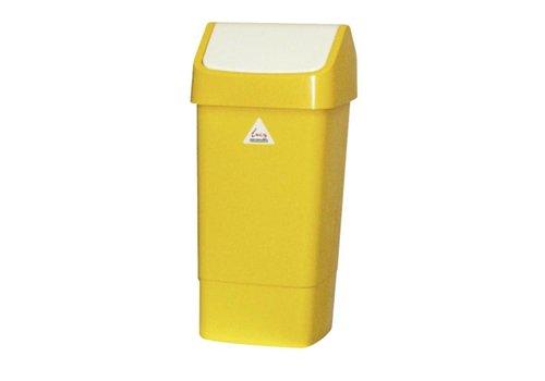HorecaTraders Abfalleimer aus Kunststoff mit Klappdeckel 50 Liter | Gelb