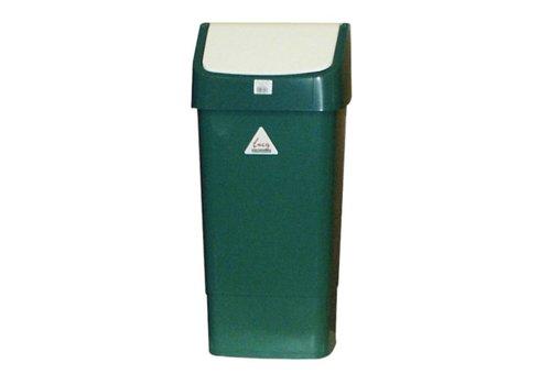HorecaTraders Kunststof Afvalbak met Schommeldeksel | 50 Liter| Groen