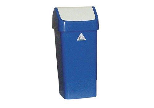 HorecaTraders Kunststof Afvalbak  met Schommeldeksel | 50 Liter | Blauw