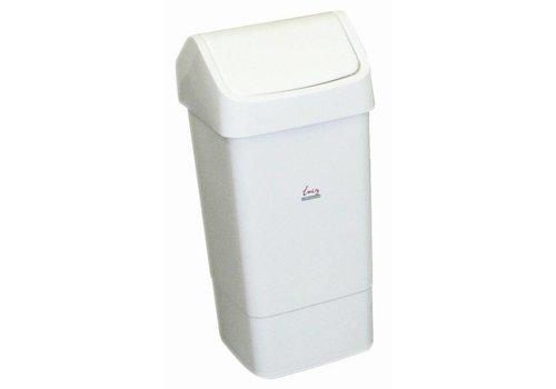 HorecaTraders Abfalleimer aus Kunststoff mit Klappdeckel 50 Liter | Weiß