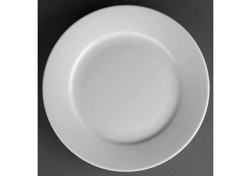 Athena Weißen Porzellanteller mit breiten Rande | 23 cm (12 Stück)