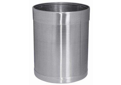 Bolero Round Brushed Stainless Steel Trash | 10 liters