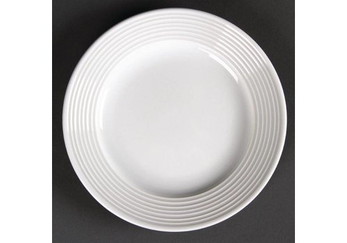Olympia Flat porcelain plate with wide edge 15 cm (12 pieces)