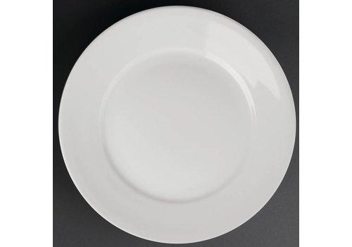 Athena Weißen Porzellanteller mit breiten Rande | 28 cm (sechs Stück)