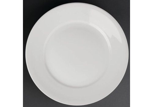 Athena Wit porselein bord met brede rand | 28 cm (stuks 6)