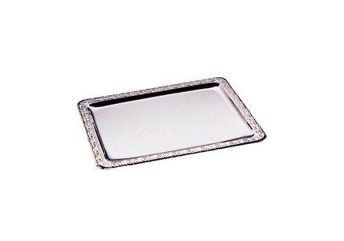 HorecaTraders Rectangular stainless steel serving tray 50x36cm