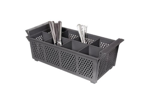 HorecaTraders Sturdy Cutlery Basket 8 Compartments | 21x15.5 cm