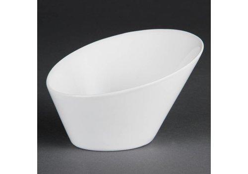 Olympia Wit Porselein Ovale Kom 15cm | 4 stuks