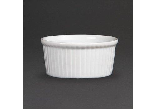 Olympia Weiße Porzellan Ramekin Gerippte 9cm | 12 Stück