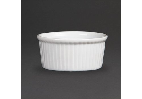 Olympia White porcelain ramekin Ribbed 9cm | 12 pieces