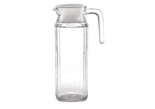Olympia Glazen Schenkkan met Deksel, 1 liter (6 stuks)
