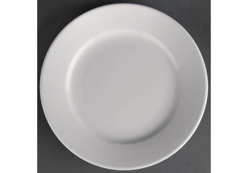 Athena Wit porselein bord met Brede Rand | 16,5 cm (stuks 12)