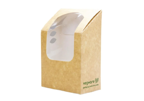 HorecaTraders Compostable tortilla boxes | PLA window | 500 pcs