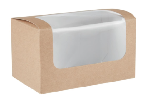 HorecaTraders Compostable sandwich boxes | 500 pieces | PLA window | kraft paper