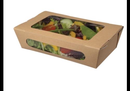 HorecaTraders Salad bowls | kraft paper | 1L | insert closure | 200 pcs
