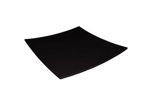 HorecaTraders Melamine Gebogen Vierkant Bord Zwart | 2 Formaten