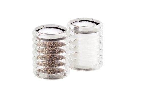 HorecaTraders Stainless steel salt and pepper shakers | 7 cm