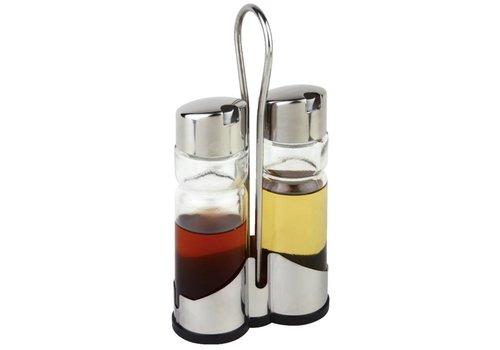 HorecaTraders Platzdeckchen Öl und Essig-Flaschen | mit Halter
