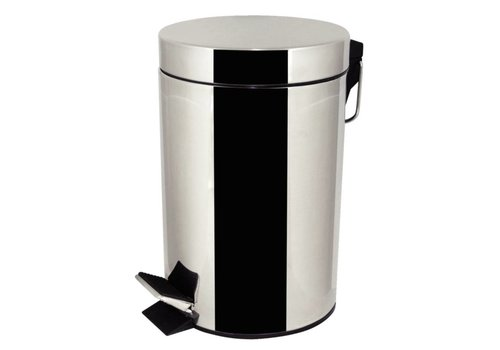 HorecaTraders Stainless steel round waste bin with pedal   3 L