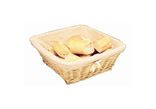 HorecaTraders Bread basket square with cover | 23 x 23 x 10 cm