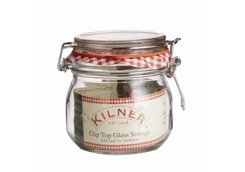 HorecaTraders Kilner glass preserving jar / jar with handle closure, 0.5 l