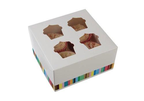 HorecaTraders Kuchen-Boxen für 4 Cupcakes (4 Stück)
