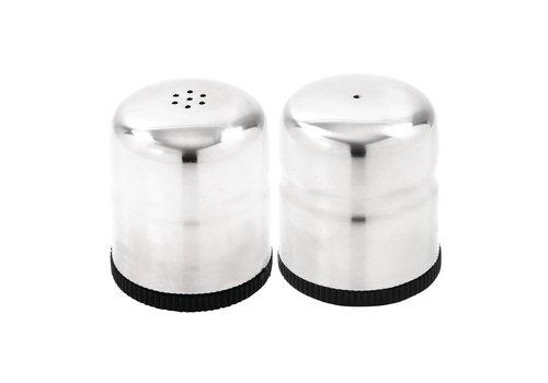 HorecaTraders Stainless steel salt & pepper set | 6 cm