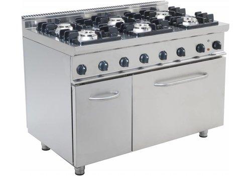 Saro Gastronomie Gasherd mit 6 Flammen und Backofen