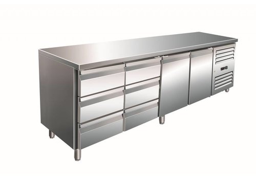 Saro SS Cooling Werkbank   2 Türen und 6 Schubladen   223 x 70 x 89/95 cm