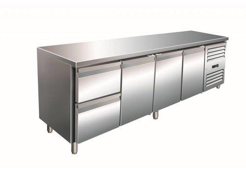 Saro RVS Koelwerkbank | 3 deuren | 2 laden | 223 x 70 x 89/95 cm