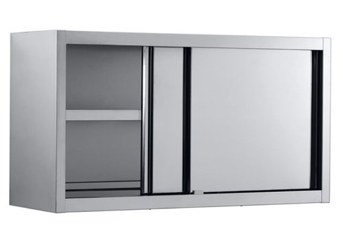 Combisteel Wall cupboard stainless steel with sliding doors 100x40x65 cm