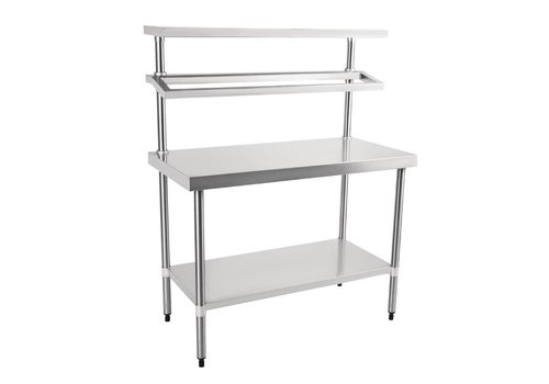 Vogue Stainless Steel Work Table With Wall Shelves | 150(h) x 120(w) x 60(d)cm