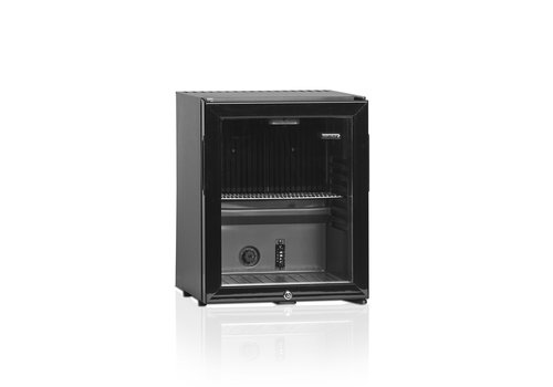 HorecaTraders Mini bar   Black   Reversible glass door   402 x 428 x 500mm